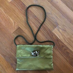 Other - Metallic Green Jewelry Pouch with Roped Strap